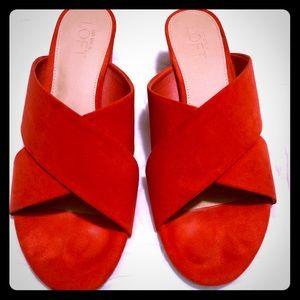Ann Taylor LOFT Red Criss-Cross Slide Block Heel